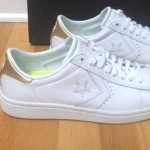 CONVERSE All Star Pro Leather Gold/White Sneakers